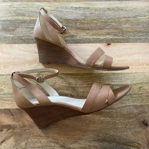 WORN ONCE - Tan and Wood Strappy Wedges